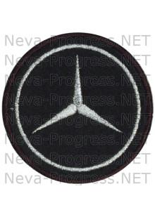 Шеврон в салон автомобиля МЕРСЕДЕС (MERCEDES) круг диаметр 60 мм. (черный фон, черный кант, метанить)