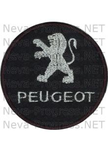 Шеврон в салон автомобиля ПЕЖО (PEUGEOT) круг диаметр 60 мм. (черный фон, черный кант, метанить)