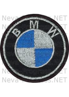 Шеврон в салон автомобиля БМВ (BMW) круг диаметр 60 мм. (черный фон, черный кант, метанить)