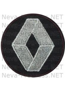 Шеврон в салон автомобиля РЕНО (RENAULT) круг диаметр 60 мм. (черный фон, черный кант, метанить)