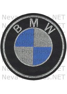 Шеврон в салон автомобиля БМВ (BMW) круг диаметр  40, 60, 80, 120 мм (черный фон, черный кант, метанить)