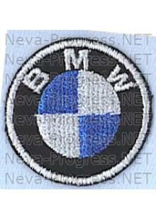 Шеврон в салон автомобиля БМВ (BMW) круг диаметр 40 мм. (черный фон, черный кант, метанить)