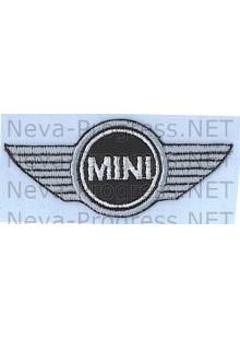 Шеврон для автомобиля  MINI ( МИНИ ) без канта, черный фон