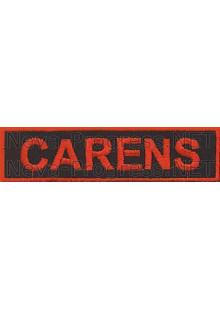 Шеврон для автомобиля  (прямоугольник) CARENS - черный фон, красный кант