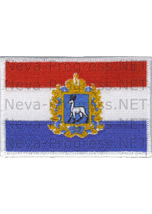 Шеврон Герб Самарской области на фоне флага России, прямоугольник, белый оверлок