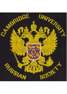 Футболка с вышитой эмблемой (на левой груди) надпись Camridge university  Russian society