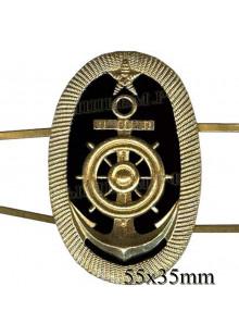 Кокарда металлическая Речной флот, курсантов мореходных училищ овал (якорь, штурвал, звезда.) на двух клямерах.