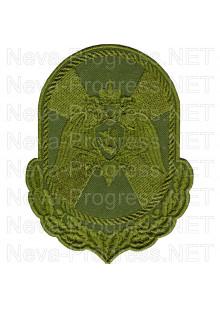Шеврон военнослужащих и сотрудников к центрального аппарата Федеральной службы ВНГ РФ – вид 1 (фон оливковый, зеленый МОХ, зеленый пиксель, зеленый камыш)