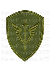 Шеврон - ОМОН «Зубр» Центра СН сил ОР и авиации ФС ВНГ РФ, непосредственно подчиненного директору ФС ВНГ РФ- вид 11 (фон оливковый, зеленый МОХ, зеленый пиксель, зеленый камыш)
