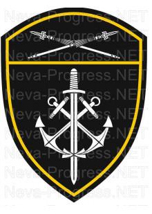 Шеврон морские воинские части Восточного округа войск Национальной гвардии, Росгвардии, Нацгвардии РФ (черный фон)