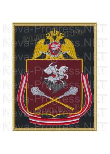 Картина вышитая с символикой (в рамке) Центрального округа войск Национальной гвардии, Росгвардии, Нацгвардии РФ (фон МОХ, краповый, оливковый или черный)