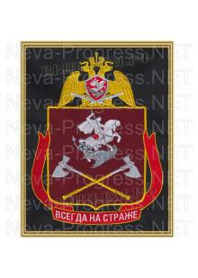 Картина вышитая с символикой (в рамке) Приволжского округа ВНГ, Росгвардии, Нацгвардии РФ (фон МОХ, краповый, оливковый или черный)
