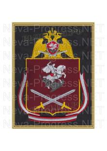 Картина вышитая с символикой (в рамке) Северо-Западного округа войск Национальной гвардии, Росгвардии, Нацгвардии РФ (фон МОХ, краповый, оливковый или черный)