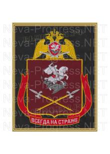 Картина вышитая с символикой (в рамке) Уральского округа войск Национальной гвардии, Росгвардии, Нацгвардии РФ (фон МОХ, краповый, оливковый или черный)