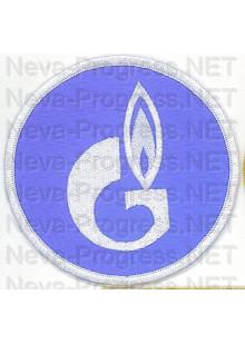 Шеврон для нефтяной компании Газпром (круг, голубой фон, белый оверлок)