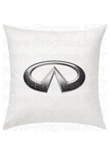 Подушка с вышитым логотипом INFINITI  в салон автомобиля, размер и цвет выбирайте в опциях