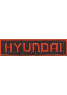 Шеврон (на грудь, прямоугольник) HYNDAI (черный фон, красный кант и буквы)