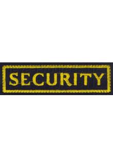 Шеврон (на грудь, прямоугольник) SECURITY (черный фон, желтый кант и буквы)