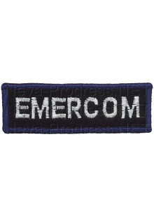 Шеврон (на грудь, прямоугольник) EMERCOM (черный фон, синий оверлок)