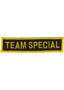 Шеврон (на грудь, прямоугольник) TEAM SPECIAL (черный фон, желтый оверлок и буквы)