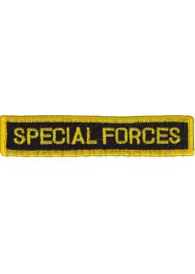 Шеврон (на грудь, прямоугольник) SPECIAL FORCES (черный фон, желтый оверлок и буквы)