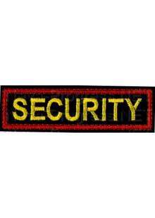 Шеврон (на грудь, прямоугольник) SECURITY (черный фон, красный кант)