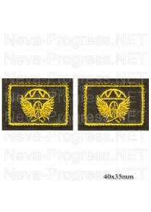 Шеврон петлицы Железнодорожные войска (желтая вышивка на оливе) цена за пару