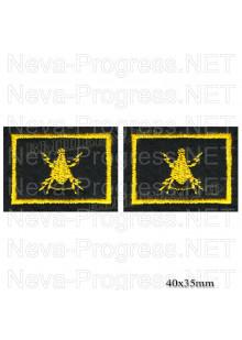 Шеврон петличный сухопутные войска (желтая вышивка на оливе) цена за пару
