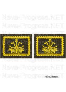 Шеврон петличный инжинерные войска (желтая вышивка на оливе) цена за пару петличек