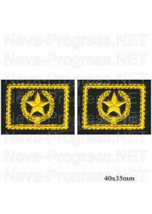 Шеврон петличный сухопутные войска (желтая вышивка на оливе) цена за пару петличек