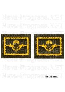 Шеврон петличный Воздушно-десантные войска ВДВ (желтая вышивка на оливе) цена за пару петличек