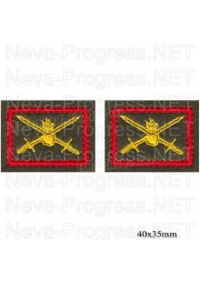 Шеврон петличный сухопутные войска (желтая вышивка на оливе, красный кант) цена за пару петличек