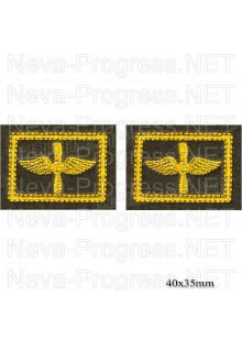 Шеврон петлицы Военно-воздушные силы (ВВС), желтая вышивка на оливе (цена за пару)