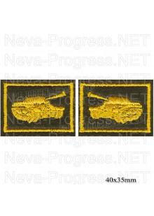 Шеврон петлицы танковые войска, желтая вышивка на оливе (цена за пару)