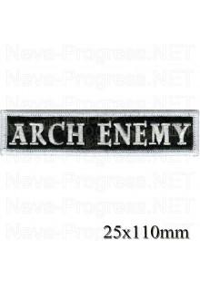 """Шеврон РОК атрибутика """"Arch enemy"""" белая вышивка оверлок, черный фон, липучка или термоклей."""