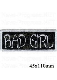 """Шеврон РОК атрибутика """"Bad Girl"""" белая вышивка (вариант 2), оверлок, черный фон, липучка или термоклей."""