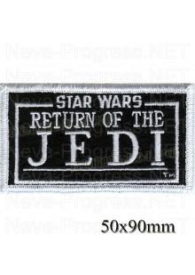 "Шеврон РОК атрибутика "" star wars return of the JEDI"" белая вышивка, черный фон, оверлок, липучка или термоклей."