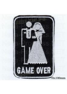 """Шеврон РОК атрибутика """"GAME OVER"""" белая вышивка, черный фон, липучка или термоклей."""