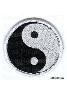 """Шеврон РОК атрибутика """" Инь Янь"""" белая вышивка, черный фон, оверлок, липучка или термоклей."""