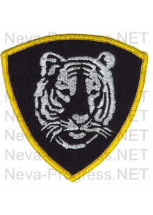 Шеврон Восточный округ (тигр) Внутренних войск (Росгвардии) России (оверлок, черный фон)