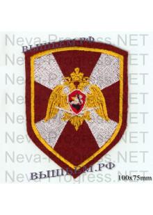 Шеврон Внутренние войска (Росгвардия) России (сложенные крылья, щит, краповый, оливковый или черный фон)