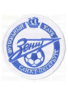 Шеврон Зенит (круглый) стрелка Зенит с мячом и надписью футбольный клуб Санкт-Петербург (белый фон, синие надписи) малый на грудь, на рукав с оверлоком