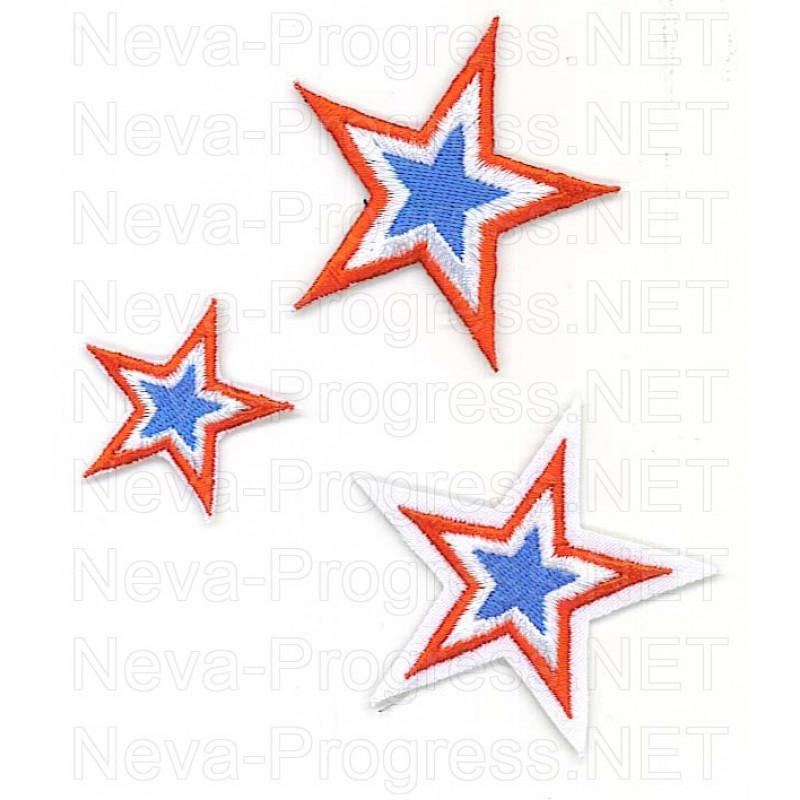 Набор шевронов звезды СКА (Спортивный клуб Армии) на белом фоне 3 штуки