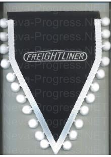 Вымпел с вышивкой Вымпел Freightliner синий с белыми шариками. Размер 18х25 см.