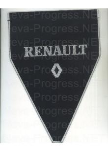 Вымпел с вышивкой RENAULT с логотипом черный фон с оверлоком. Размер 18х25 см.