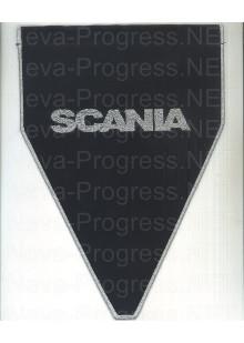Вымпел с вышивкой SCANIA черный фон с оверлоком. Размер 18х25 см.