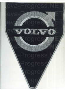 Вымпел с вышивкой VOLVO с логотипом черный фон с оверлоком. Размер 18х25 см.