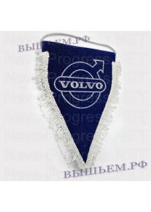 Вымпел с вышивкой Вольво синий с золотой бахромой. Размер 18х25 см.