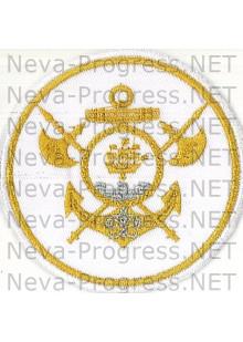 Шеврон 105-я БРИГАДА КОРАБЛЕЙ ОВР (ДКБФ), Метанить, белый фон  (Кронштад)