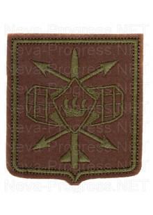 Шеврон 332-го радиотехнического полка в/ч 21514 г. Петрозаводск (оливковый фон, полевая форма одежды)